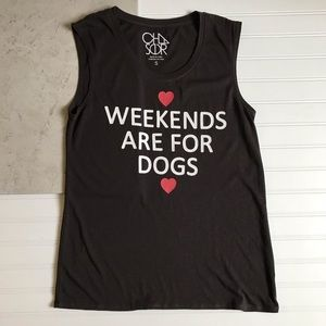 Chaser || Weekends Are For Dogs Graphic Tank Sz S